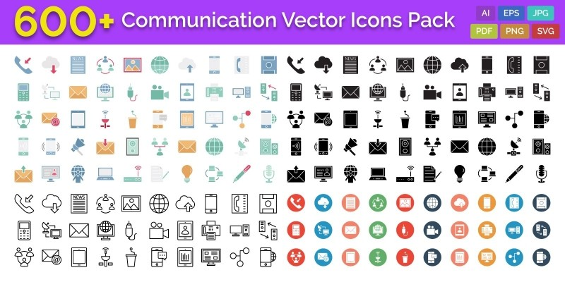 600 Communication Vector Icons Pack
