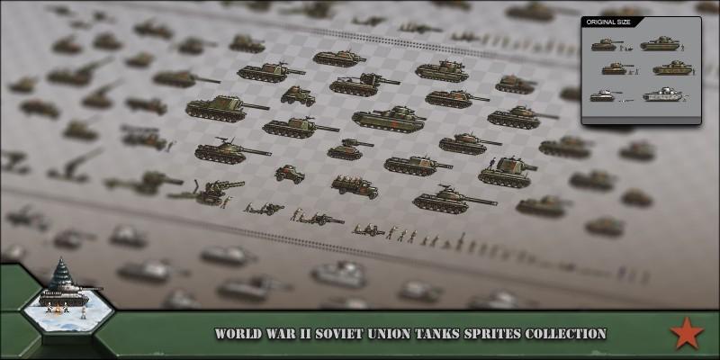 World War 2 Soviet Union Tanks Sprites Collection