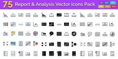 75 Report and Analysis Vector icons Pack