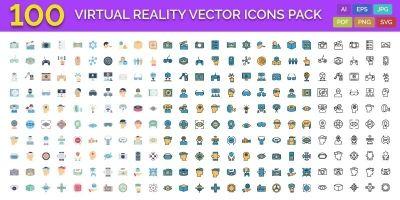 100 Virtual Reality Vector Icons