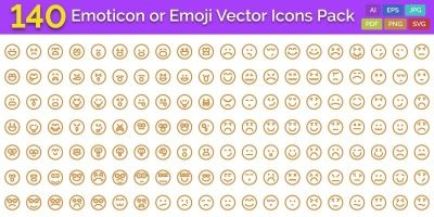140 Emoticon or Emoji Vector Icons