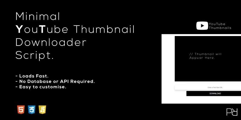 Minimal YouTube Thumbnail Downloader Script