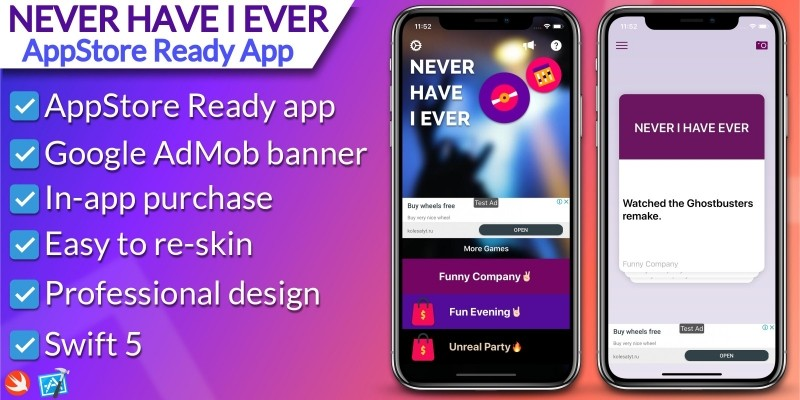 Never Have I Ever - iOS Game Source Code