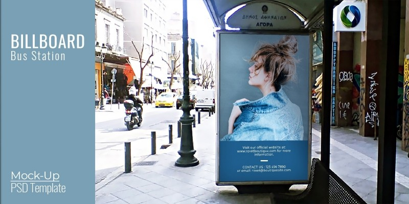 Billboard Bus Stop Mock-Up - PSD Template