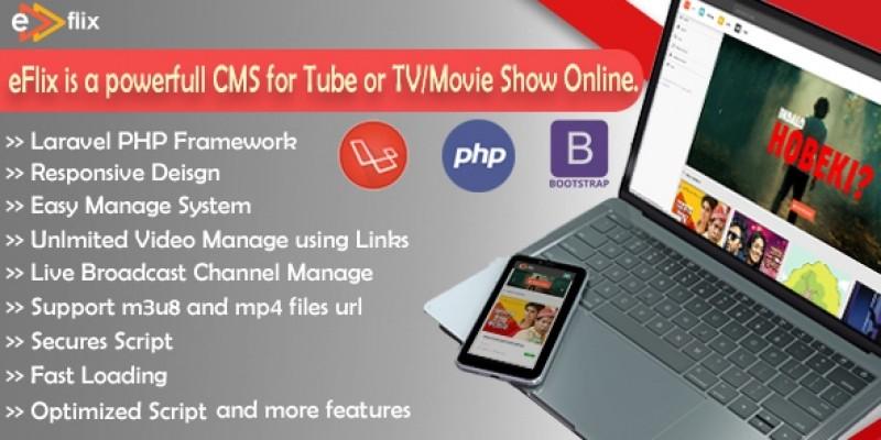 eFlix CMS - Live Video Watch Online PHP Script