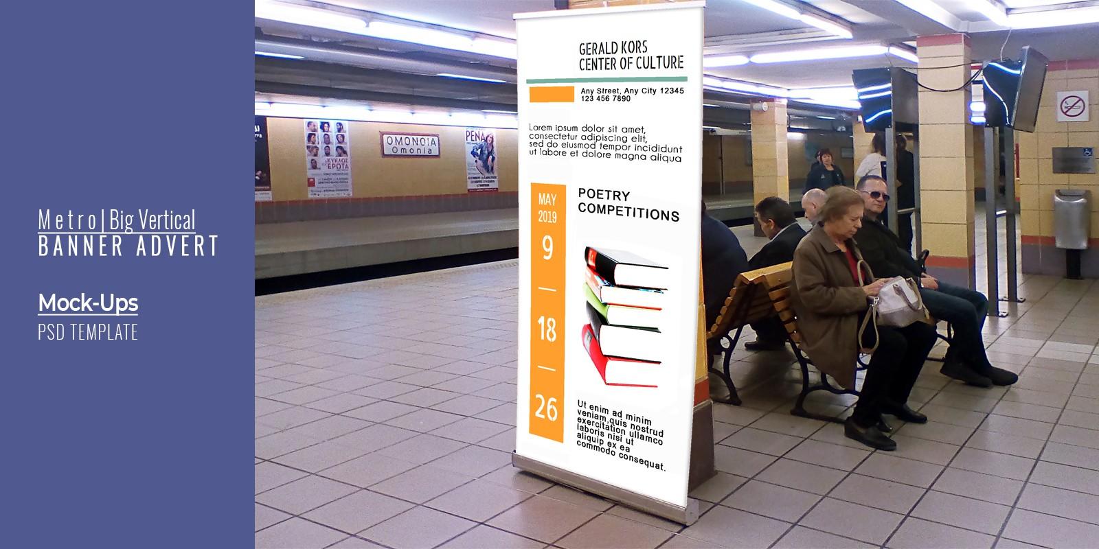Metro Vertical Banner Advert Mock-up - PSD