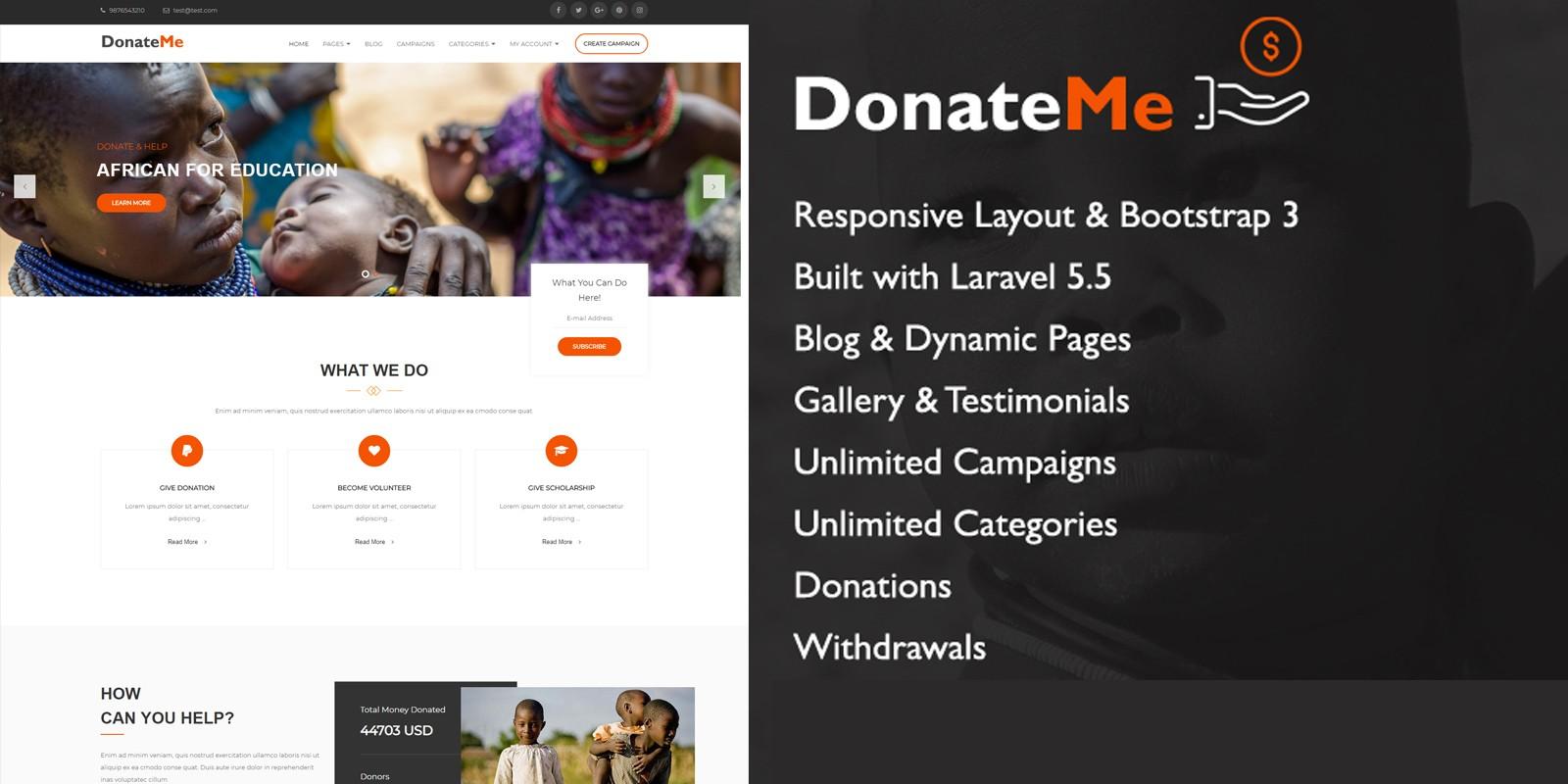 DonateMe - Crowdfunding Laravel Script