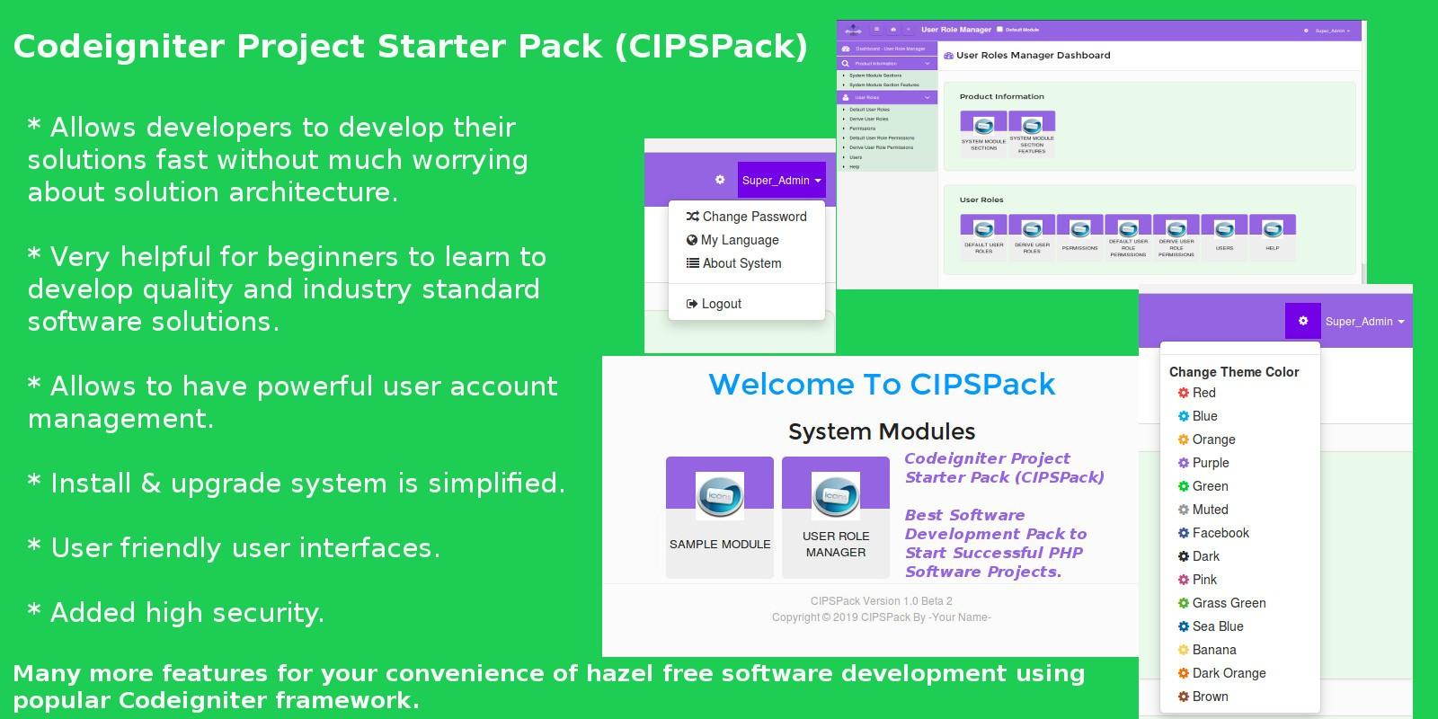 PHP Software Development Pack Using Codeigniter