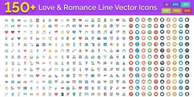 150 LoveAnd Romance Line Vector Icons