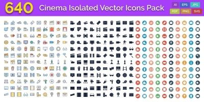 640 Cinema Isolated Vector Icons Pack