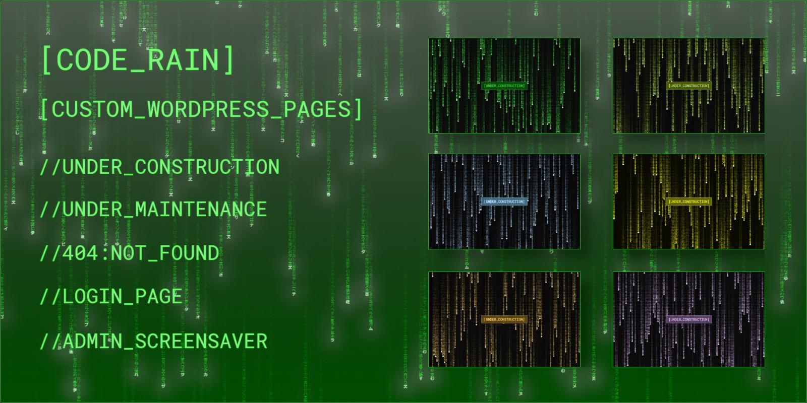 Code Rain - Custom pages for WordPress