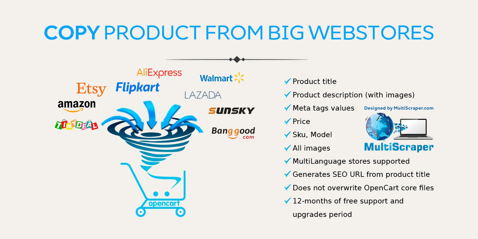 Copy product From Marketplaces - OpenCart