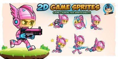 SpaceGirl 2D Game Sprites