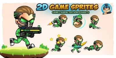 Green Cyborg 2D Game Sprites