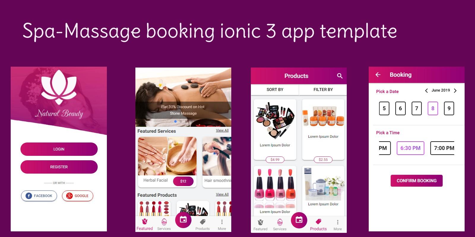Spa Booking Ionic 3 Theme