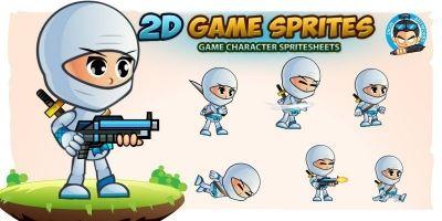 White Girl Ninja 2D Game Character Sprites
