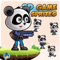Panda Warrior 2D Game Character Sprites