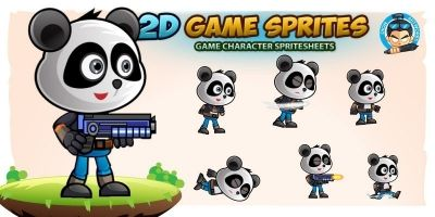 Panda Warrior 2D Game Character Sprites