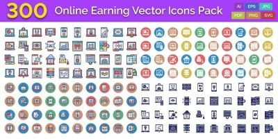 300 Online Earning Vector Icons Pack
