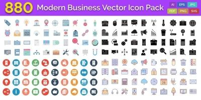 880 Modern Business Vector Icon pack