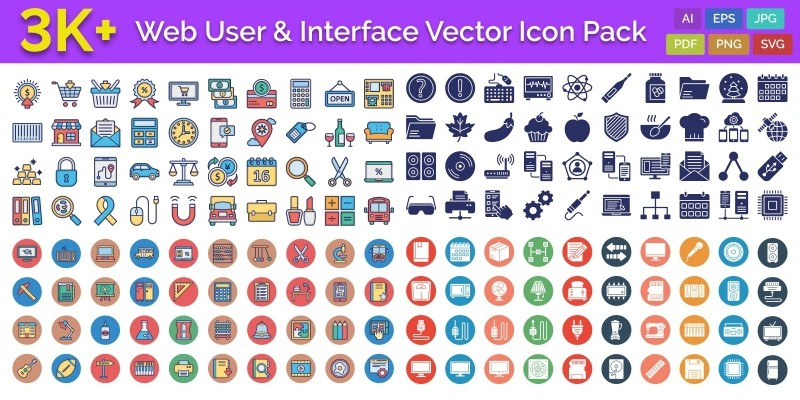 3000 Web User and Interface Vector Icons Pack