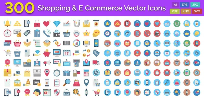 300 Shopping And E-Commerce Vector Icons Pack