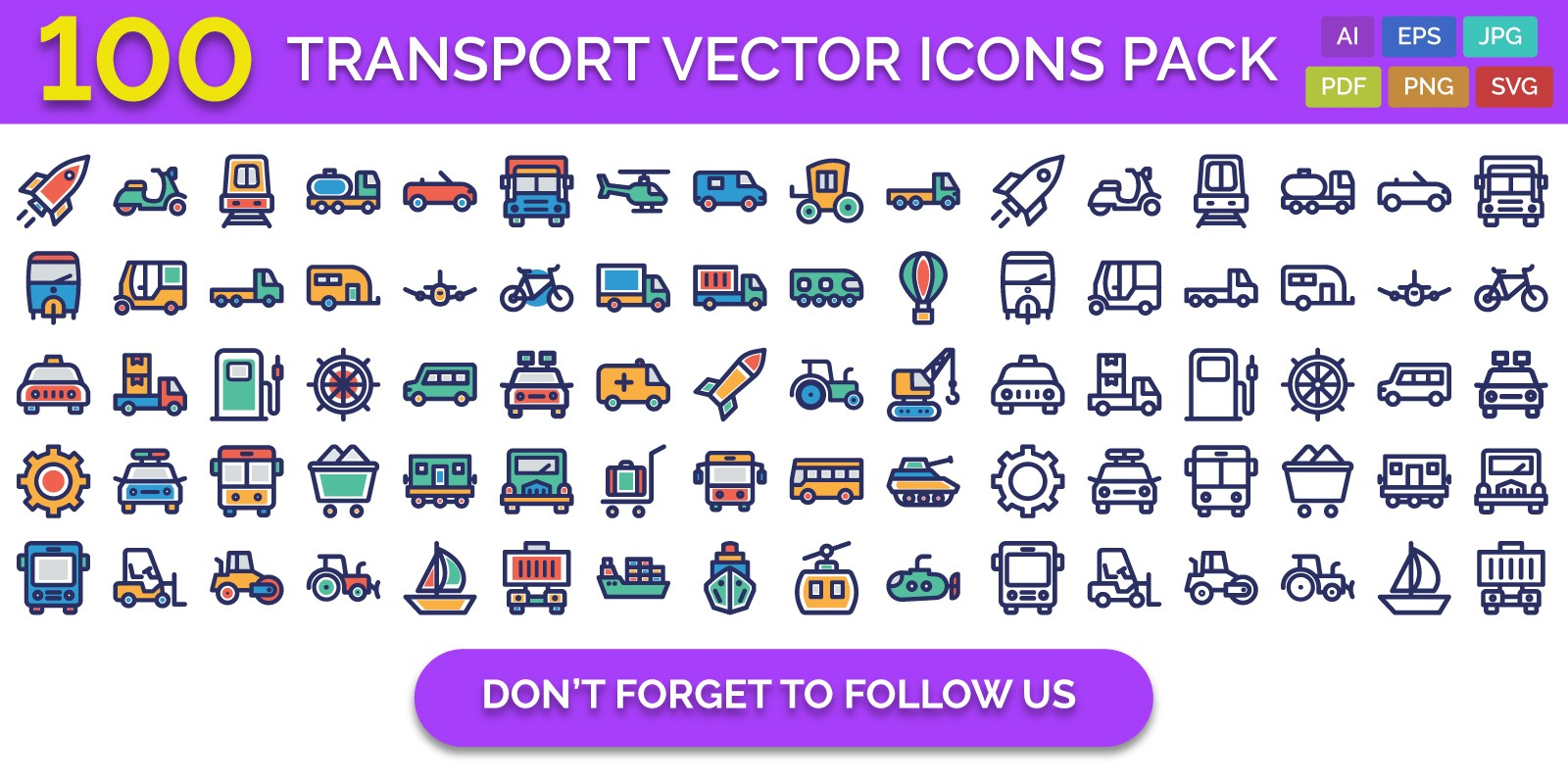 100 Transport Vector Icons Pack