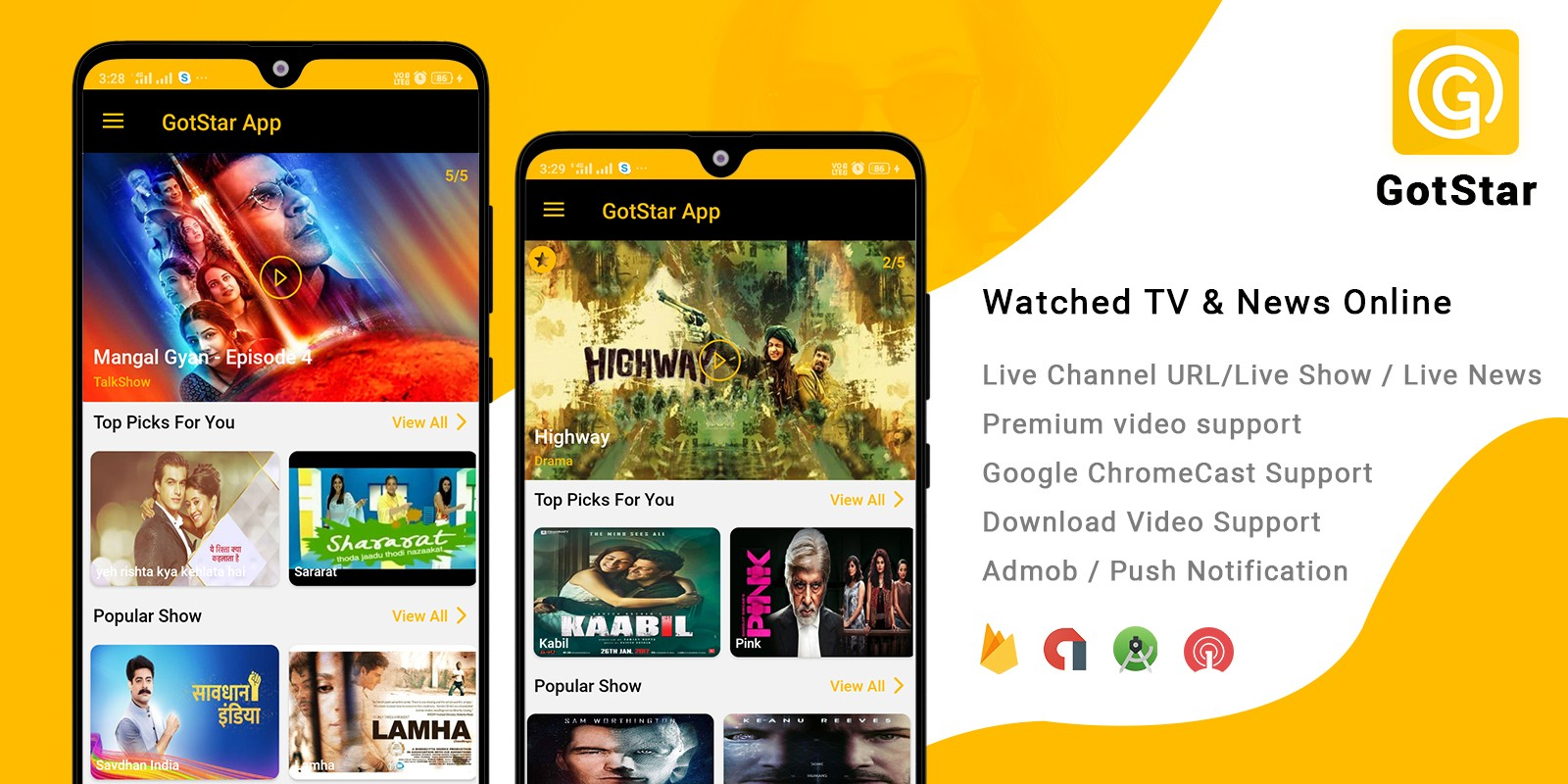 GotStar - Live Streaming TV - Android Template
