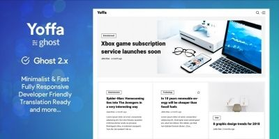 Yoffa - Minimalist And Fast Ghost Blog Theme