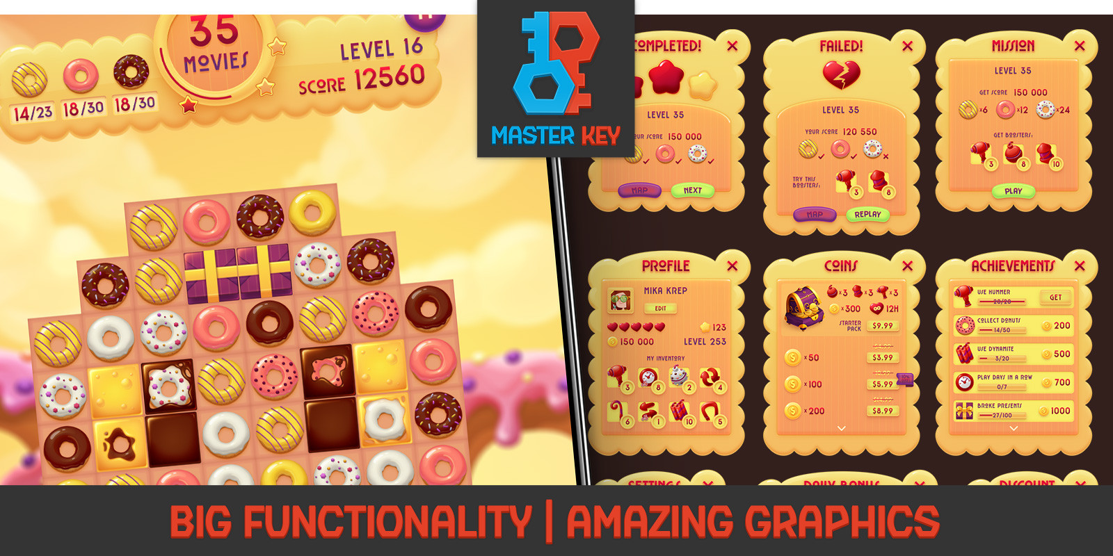 Donuts Match 3 Unity Game Template