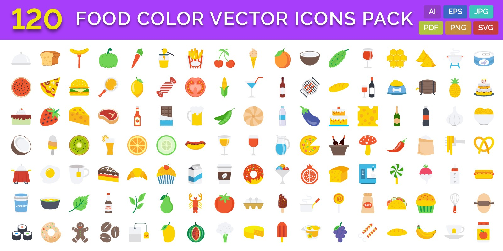 120 Food Color Vector Icons Pack