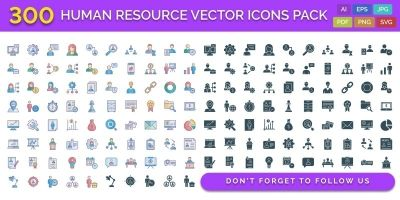 300 Human Resource Vector Icons Pack