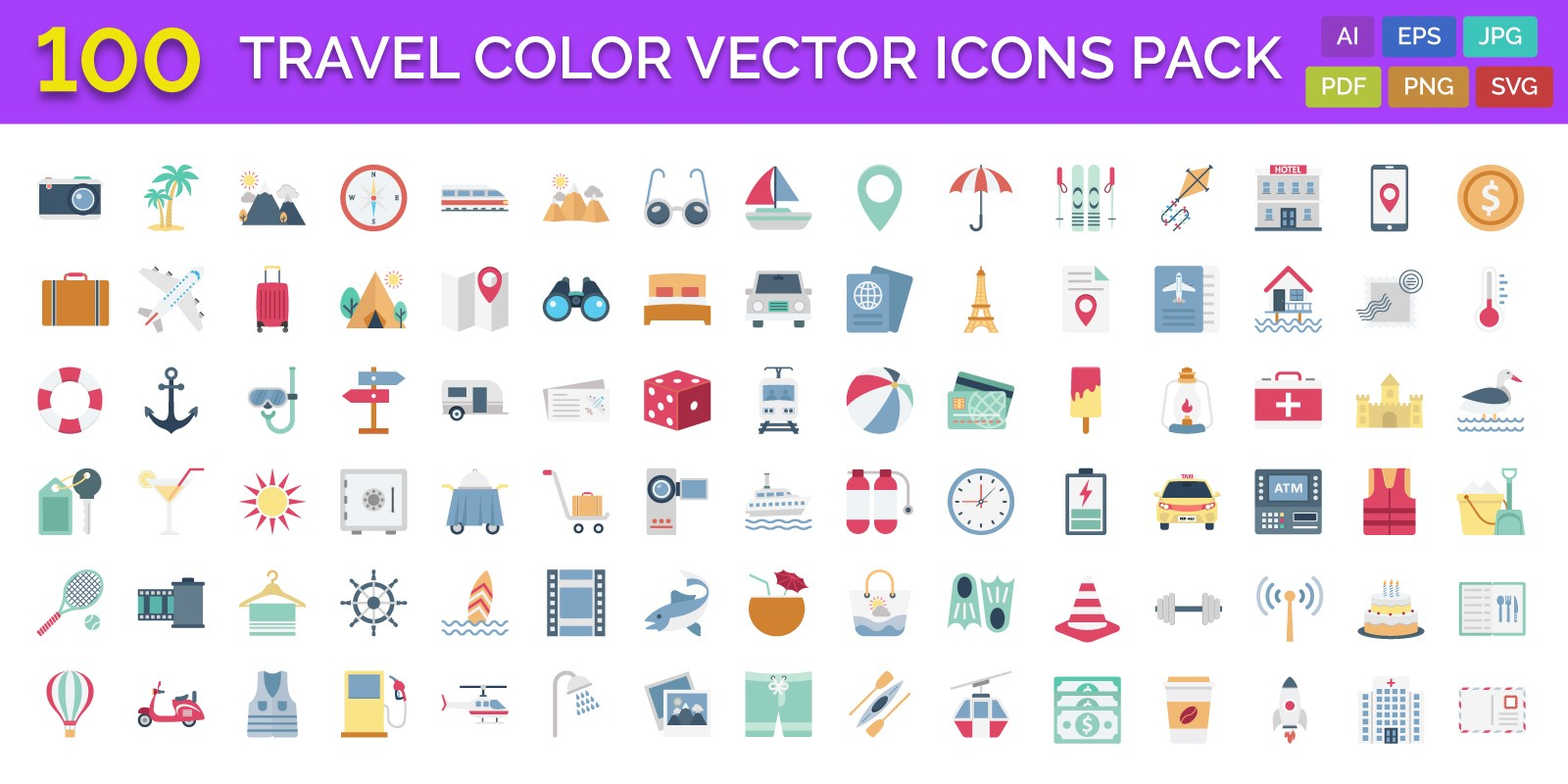 100 Travel Color Vector Icons Pack