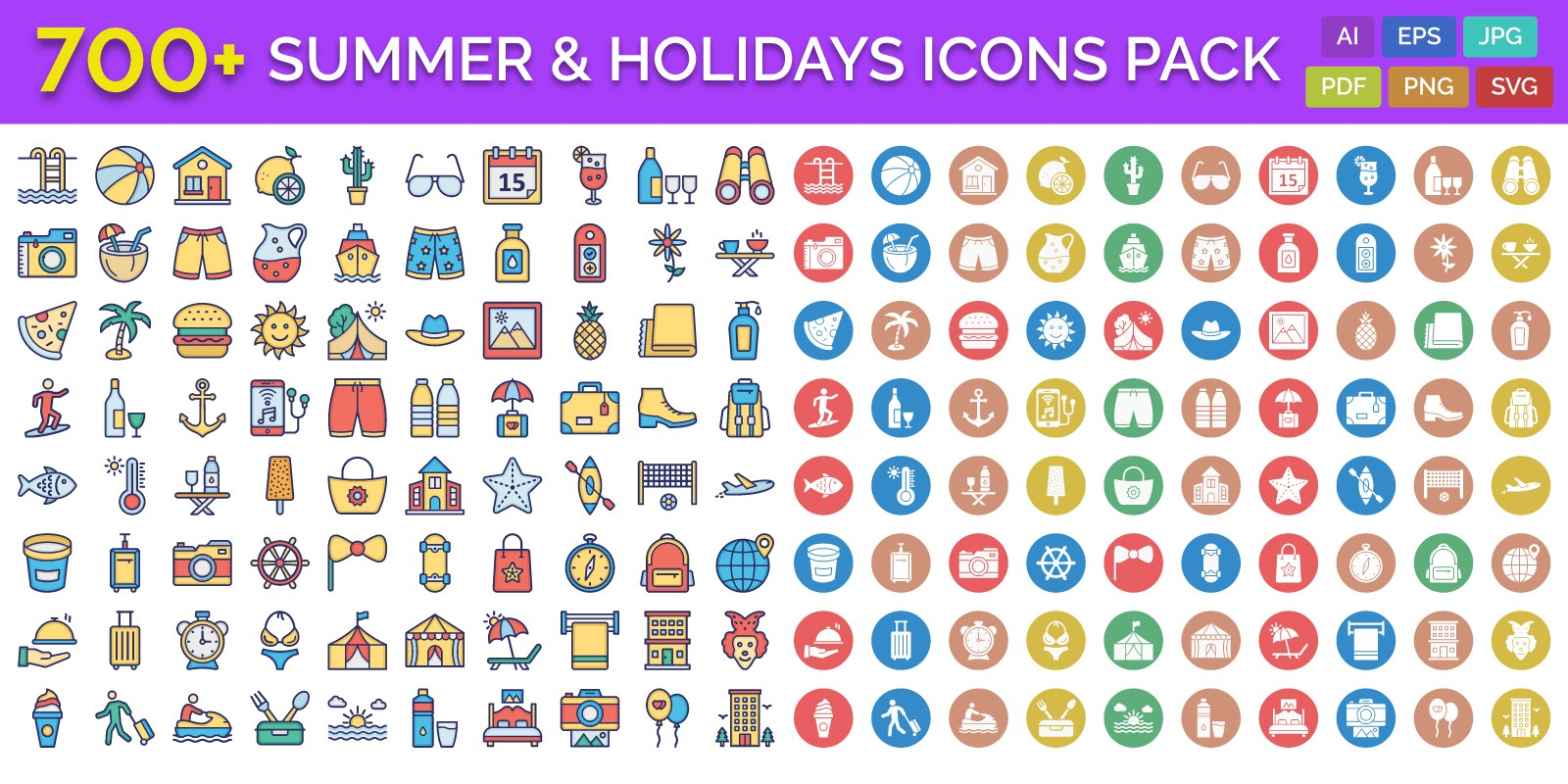 700 Summer And Holidays Vector Icons Pack