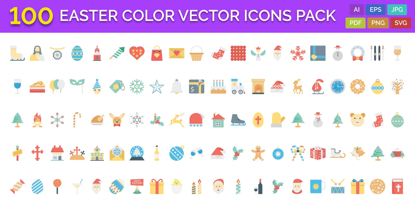100 Easter Color Vector Icons Pack