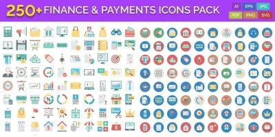 250 Finance and Payments Vector Icons Pack