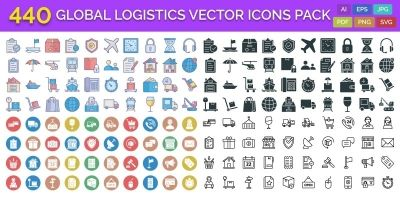 440 Global Logistics Vector Icons Pack