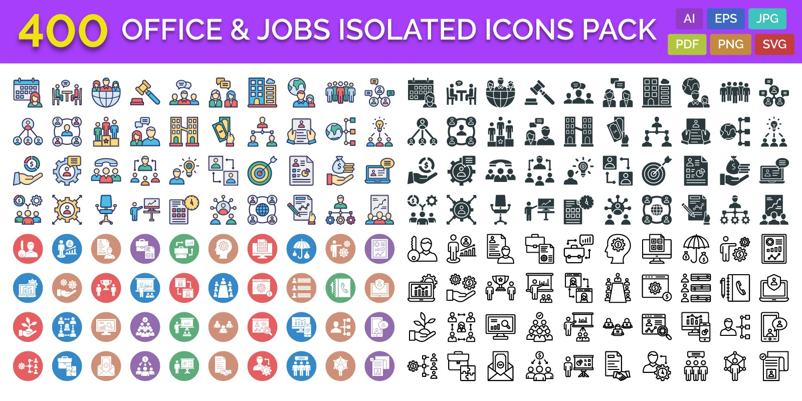 400 Office And Jobs Isolated Vector Icons Pack