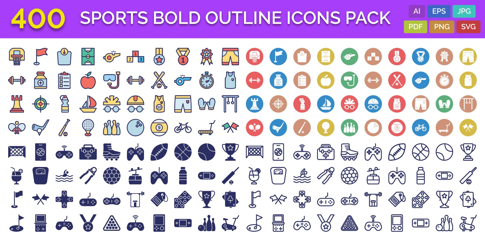 400 Sports Bold Outline Vector Icons Pack