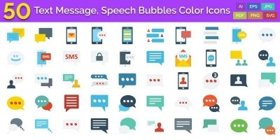 100 Text Message Speech Bubbles Color Vector Icon