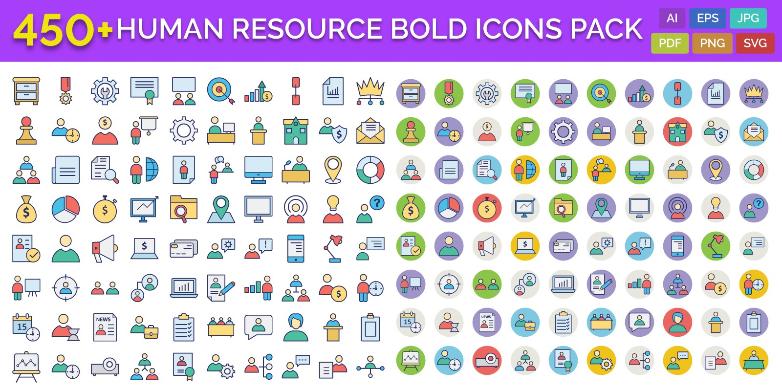 450 Human Resource Bold Outline Vector Icons Pack