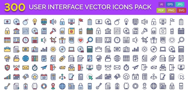 300 User Interface Vector Icons Pack