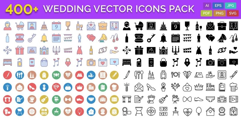 400+ Wedding Vector Icons Pack