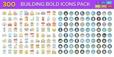 300 Building Bold Line Icons Pack