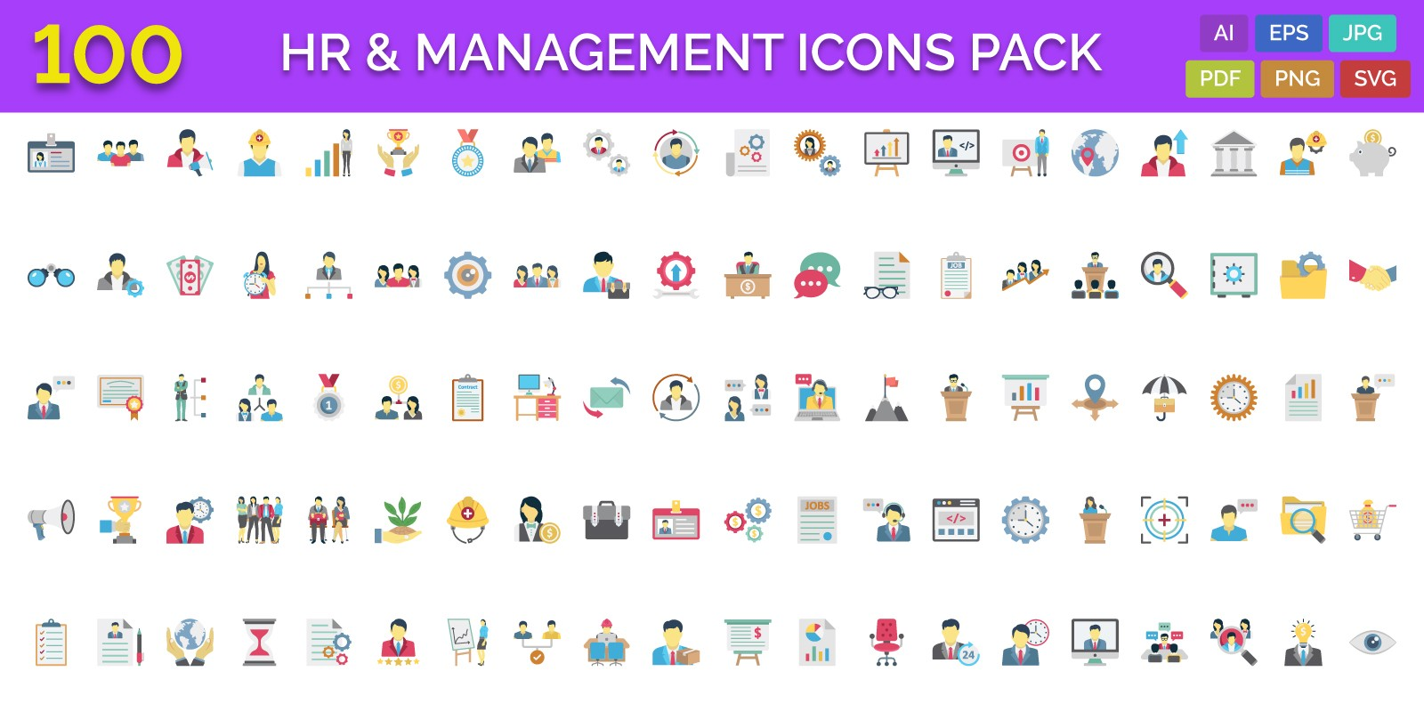 100 HR And Management Vector Icons Pack