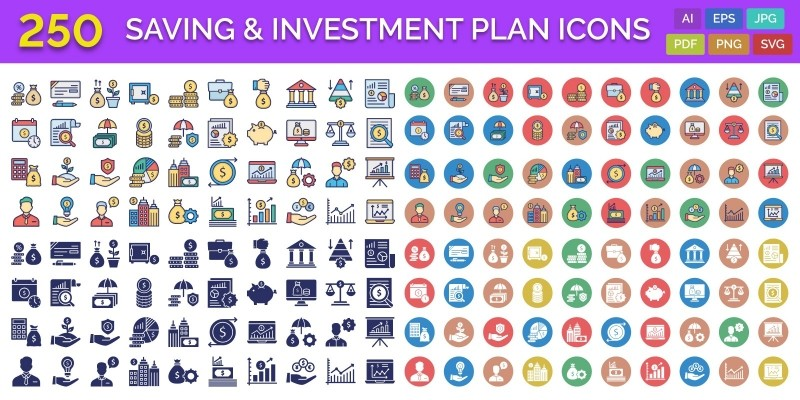 250 Saving And Investment Plan Vector Icons Pack