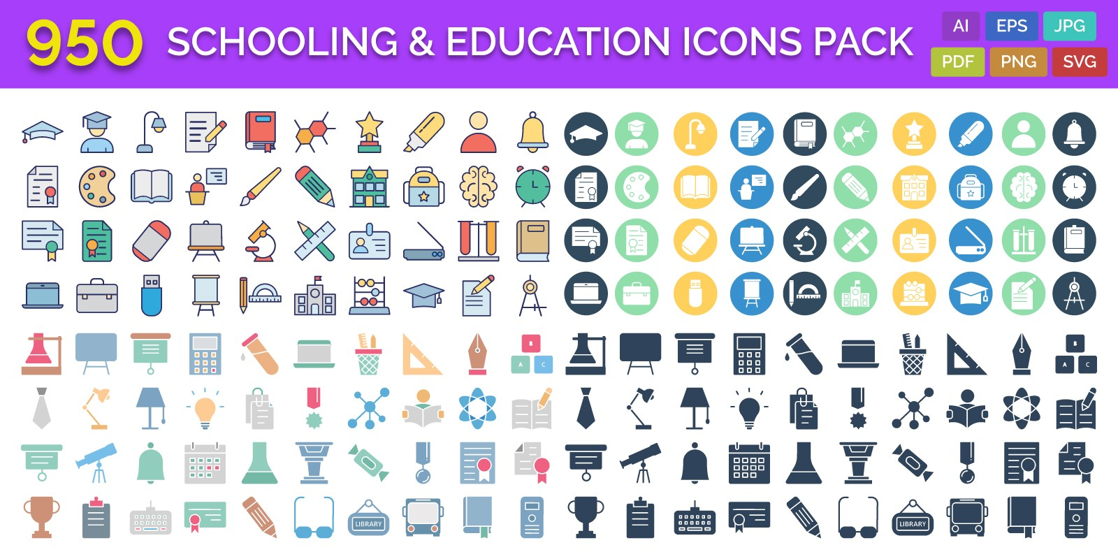 950 Schooling And Education Vector Icons Pack