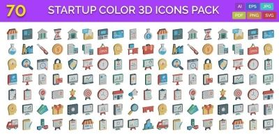 70 Startup Color 3D Vector Icons Pack