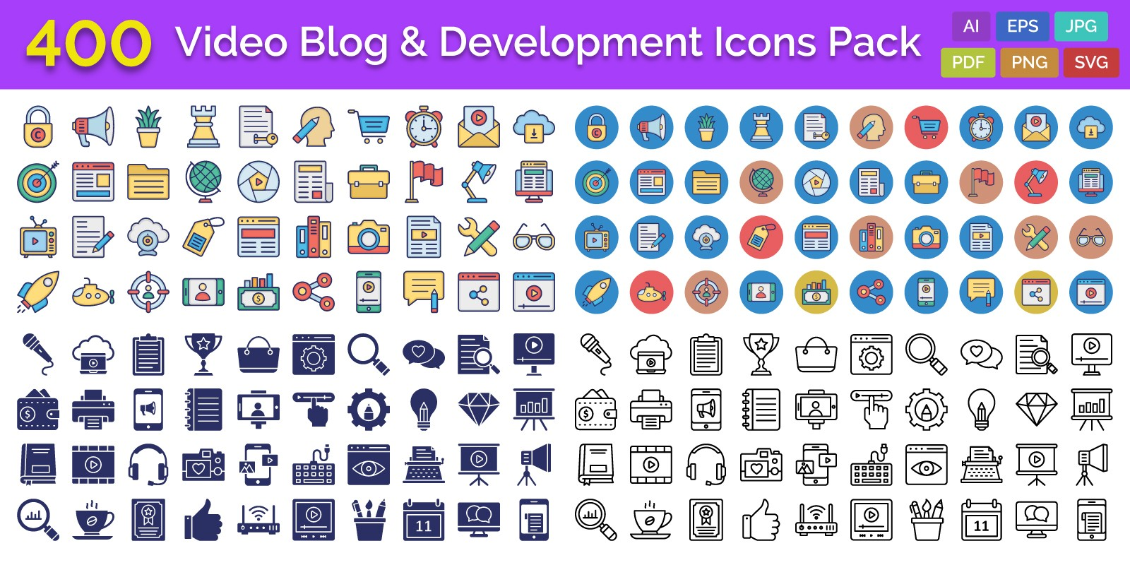 400 Video Blog And Development Icons Pack
