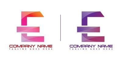E Logo Vector With Modern Color